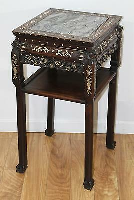 Antique circa 1900 Chinese Export Mother of Pearl Inlaid Teakwood Stand Table