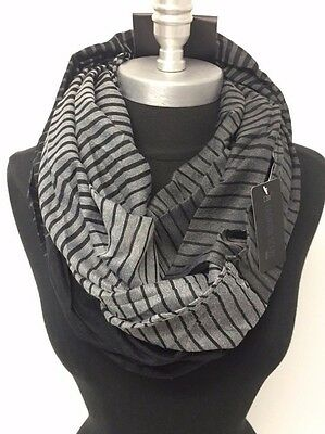 Men's Striped lightweight Circle Infinity Loop Scarf Shawl Wrap Soft Black/White