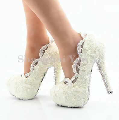 Women heel white ivory lace crystal pearls Wedding shoes pumps platform bride