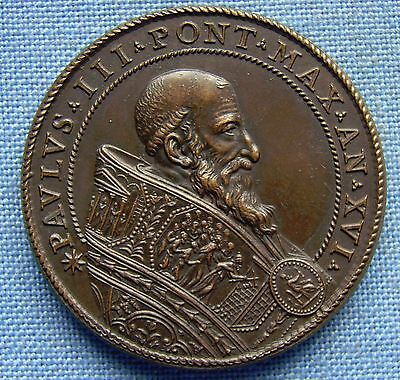 *beautiful & Rare Papal States Vatican - Pope Paul Iii Bronze Medal*