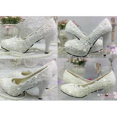 Wedding Lace Ivory White Prom Bridal Bridesmaid Flat High Low Heel shoes