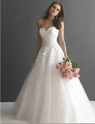 New White/Ivory Wedding Dresses Bridal Gown Stock Size 6 8 10 12 14 16