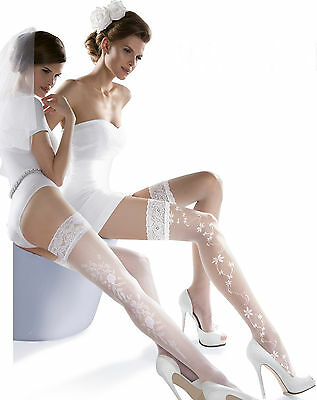 Wedding Bridal Collection Princessa Patterned Hold Ups Tights Lingerie New