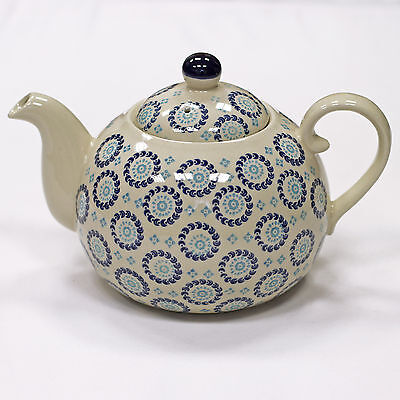 Vintage Bohemian Style Ceramic Teapot - Navy Blue & Cream - Great Gift Idea