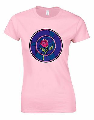 Rose Stained Glass Beauty and the Beast Woman Cut Shirt Tshirt Tee Top AA45