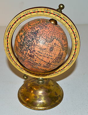 Vintage World Terrestrial Rotating Globe Map with Full  Wood Meridian