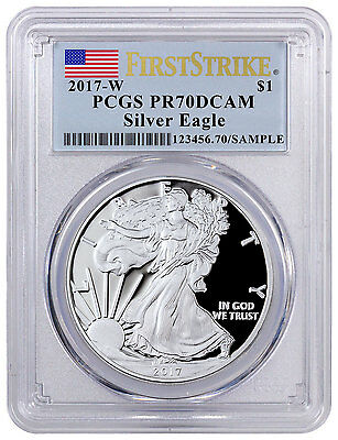 2017-W Proof American Silver Eagle PCGS PR70 DCAM FS Flag Label SKU45273
