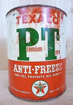 Old TEXACO Premium Type Anti-Freeze Tin 1 Gallon Can Gas Station Repair Shop USA