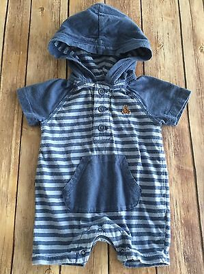 BABY GAP Blue Striped Hooded Romper One Piece Size 0-3 Months