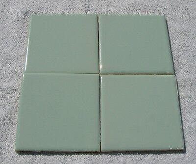 Vintage Spartan 1960's Set of 4, 4 5/16 Square Ceramic Wall Tile Mint Ming Green