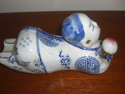 Vintage Chinese Porcelain Blue And White Reclining Statue