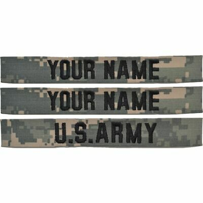 3 Piece Name Tape Set w/o Hook Fastener Backing (sew-on) - ACU