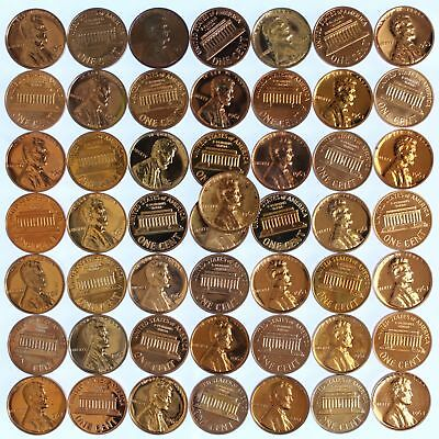 1961-64 Lincoln Cent Proof Lot of 50 Coins With Problems Rejects US Penny Roll