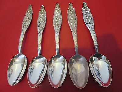 5  -  LILY OF THE VALLEY - STERLING -  8 1/4 in SERVING SPOONS  - Whiting  #4