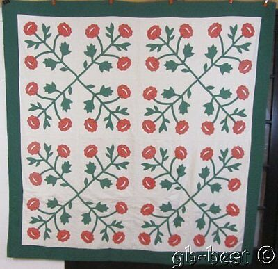 "Vintage RED GREEN Floral Applique Quilt  c 1930s 80"" x 80"""