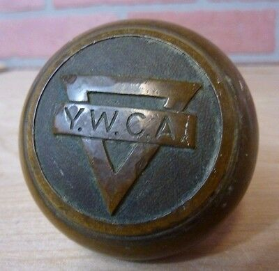 Antique Bronze YWCA Door Knob embossed design Young Women's Christian Assn