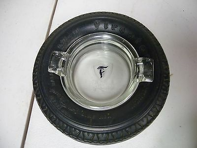 "Antiq Advertising Tire Ashtray,""FIRESTONE"" Balloon Tire w/Embossed Glass Insert"