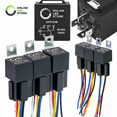 6 Pack - OLS 12V 30/40 Amp 5-Pin Bosch Style SPDT Relay Harness Set