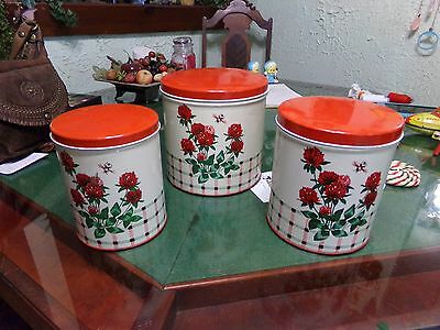 Vintage 3 Piece Set Floral Tin Canisters Clover & Bees Colorware