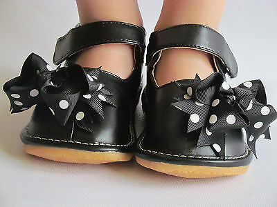 Black with Dot Bows Mary Jane Up to Size 7 Toddler Shoes Squeaky Shoes