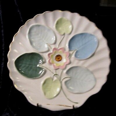 Antique Continental Oyster Plate Hand Painted, 4 Wells 1 Center Sause C. 1890