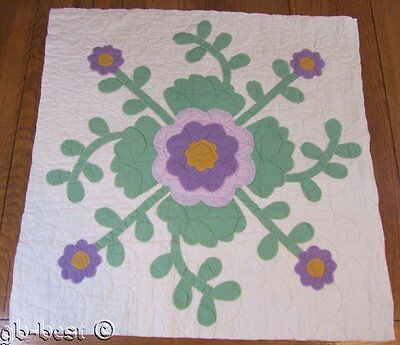 """Beautiful c 1930s Whig Rose APPLIQUE Quilt pc 26"""" x 26"""" make wall quilt"""