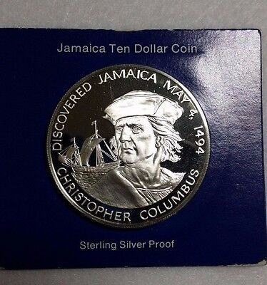 Christopher Columbus Cameo silver 1975 JAMAICA PROOF $10 @.@