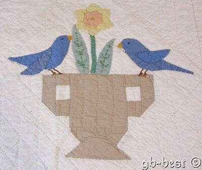 Cottage c 1930s Blue Birds & Urns Daffodil Vintage QUILT pc frame