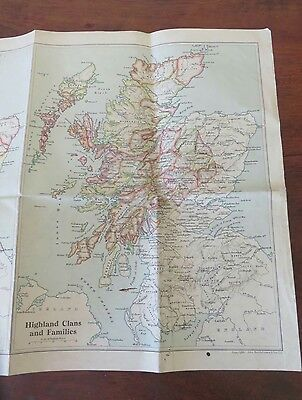 MAP OF SCOTLANDS ANCIENT HISTORY HIGHLAND CLANS FAMILYS OLD DIVISIONS 1600s 1934