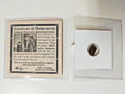 The Biblical Widow's Mite 2000 Year Old Bronze Coin of Judaea Holy Land with COA
