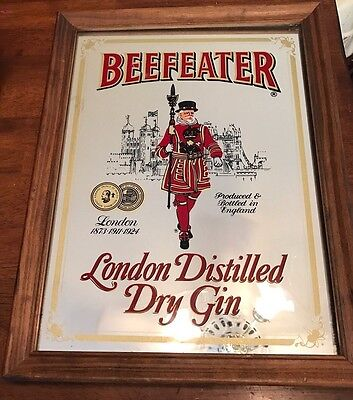 "British Vintage Beefeater's Mirror ""London Gin"" Sign -16 1/4 x 12"" *HomeBar*"
