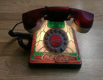 COCA COLA STAINED GLASS LOOK ART DECO TELEPHONE PUSH BUTTON DIALING light up