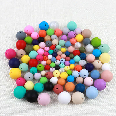 50Pcs Silicone Teething Beads Baby Nursing Breastfeeding Teether Necklace Making