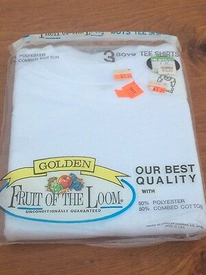 NOS Golden FRUIT of LOOM Boys T shirt White Sz 6 tee shirt Made In US