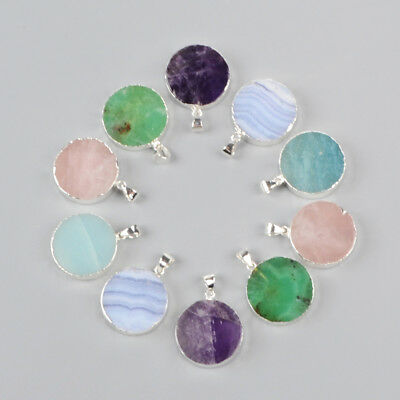 5Pcs 925 Sterling Silver Round Pendant, Natural Amethyst Quartz Amazonite BSS063