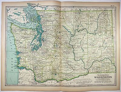 Original 1897 Map of Washington State - A Finely Detailed Color Lithograph