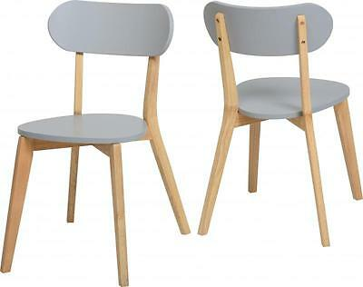 Julian Stacking Dining Chair Set of 2  Modern Grey/Natural ,Rubber Wood