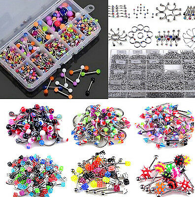 110pcs Wholesale Eyebrow Navel Belly Tongue Nose Piercing Bar Ring Body Jewelry