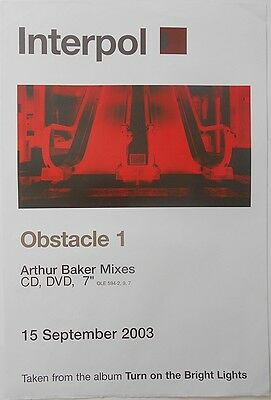 INTERPOL Obstacle 1 Rare Original Official UK Record Company Publicity POSTER