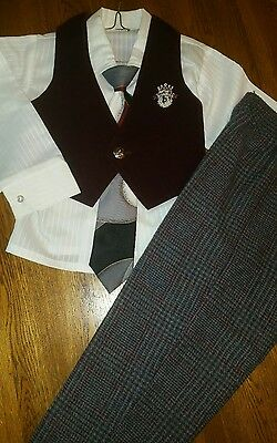 Vintage Boys Suit Vest special Occasion Outfit 4pc Set