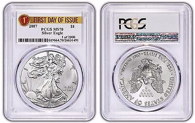 """2017 PCGS MS-70 Silver Eagle ASE $1 """"FIRST DAY ISSUE, 1 of 2000"""" LABEL"""