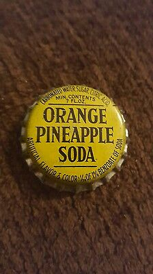 ORANGE PINEAPPLE SODA Bottle Cap Kewanee, IL  Cork Lined - Bottled by Hires