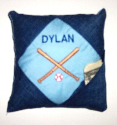PERSONALIZED Denim Tooth Fairy Pillow  - BASEBALL!!