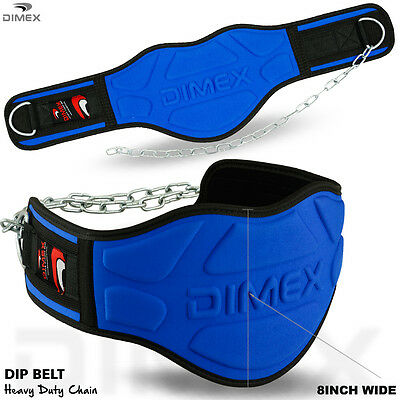 "Dipping Belt Body Building Weight Lifting Dip 8"" Wide Chain Exercise Gym Blue"