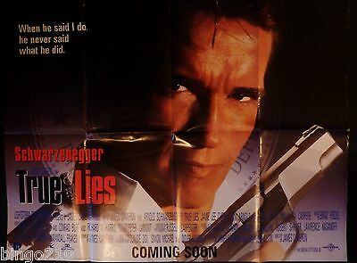 True Lies 1994 Cinema  Quad Poster Arnold Schwarzenegger James Cameron