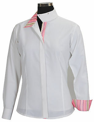 Equine Couture Women's Isabel Coolmax Show Shirt, sz 32, White/Stripe NWT