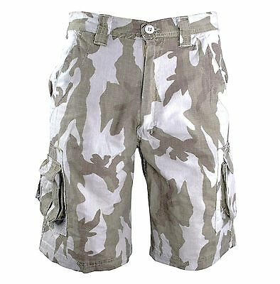 GENTS RIP-STOP COMBAT CARGO SHORTS Mens heavy duty grey camouflage 100% Cotton