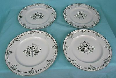 """Franciscan Heritage 4 Dinner Plates 10"""" Mid Century Modern Dishes"""