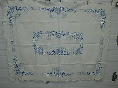 """Vintage Hand Embroidered Linen """"Shades Of Blues"""" Floral Cross Stitch Tablecloth"""