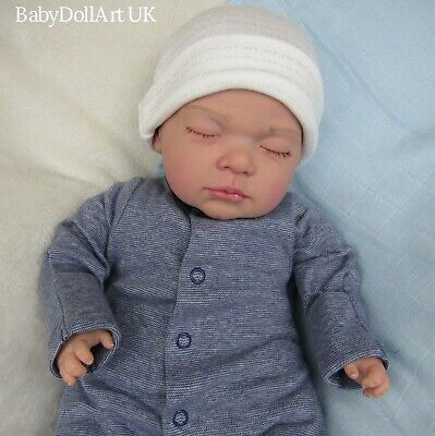 Newborn Reborn Baby BOY Doll sleeping ... #RebornBabyDollART UK